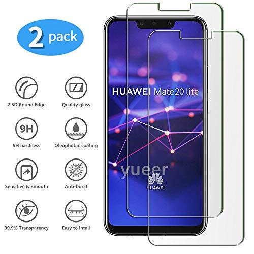 yueer [2-pack] voor Huawei Mate 20 Lite Scherm beschermer, Screenprotector van gehard glas-[Ultra Thin] [High Definition][Bubble-Free] [Easy Installation] [Anti Scratch].