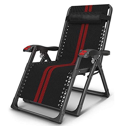 LOVEHOUGE Sillón reclinable plegable con gravedad cero para jardín, playa, piscina, camping, color negro