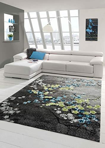 Traum Tappeto Designer Tappeto moderno tappeto del salotto il motivo floreale grigio turchese verde e bianco Größe 160x230 cm