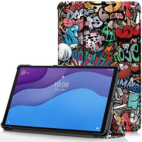 TTVie Cover per Lenovo Tab M10 HD (2nd Gen), Custodia Ultra Sottile e Leggero con Funzione Auto Sveglia Sonno per Lenovo Tab M10 HD (2nd Gen) Tablet Display 10.1  HD Modello 2020, Graffiti