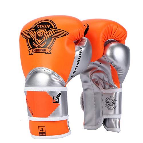 Huining Guantes de Boxeo para niños de 3 a 15 años de Edad, de Piel sintética, para Entrenamiento, Boxeo, 4 onzas, 6 onzas, Color Naranja y Plateado, tamaño 118 ml