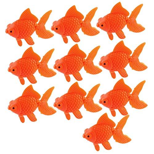 sourcing map Aquarium Dekoration Goldfische Kunststoff Ornamente für Aquarien orange 10 Stück de