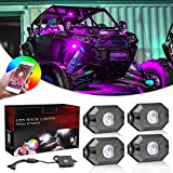 RGB Rock Lights Kits, Niwaker 4 pods RGB LED Rock Lights with Bluetooth Control Multicolor Neon LED Lights Underglow Lights for Truck ATV UTV SUV Boat Off Road