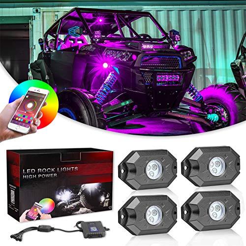 RGB Rock Lights kits, Niwaker 4 pods RGB LED Rock Lights with Bluetooth Control Multicolor Neon LED Lights Underglow Lights for Truck ATV UTV SUV Boat Off Road