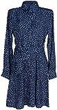 styleBREAKER Vestido en Forma de Camisa de Mujer de Manga Larga con Motivo de Lunares, Cuello de Blusa y cinturón, Minivestido, Vestido Forma de Camisa, Vestido 08010062, Color:Azul Oscuro, tamaño:L