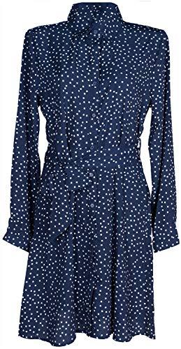 styleBREAKER dameshemd jurk lange mouwen met stippenpatroon, blousekraag en riem, mini-jurk, blousejurk, jurk 08010062