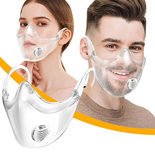 Durable Transparent Face_Mask for Coronàvịrụs Protectịon, Clear Face_Shield Combine Plastic Reusable Clear Face_Bandanas, Anti Fog and Breathable, Visible Expression for Adults (White)