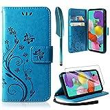 AROYI Lederhülle Samsung Galaxy A71 Flip Hülle+ HD Schutzfolie, Samsung Galaxy A71 Wallet Hülle Handyhülle PU Leder Tasche Hülle Kartensteckplätzen Schutzhülle für Samsung Galaxy A71