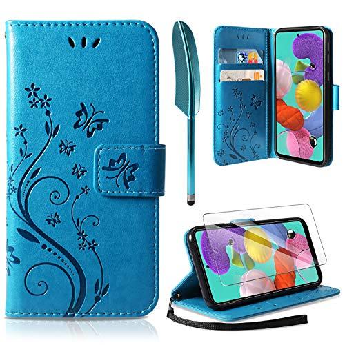 AROYI Funda Compatible con Samsung Galaxy A71 y Protector de Pantalla, Relieve Dibujo Carcasa de Tipo Libro Soporte Plegable Ranuras para Tarjetas Magnético Ultra Delgado Carcasa Case, Azul