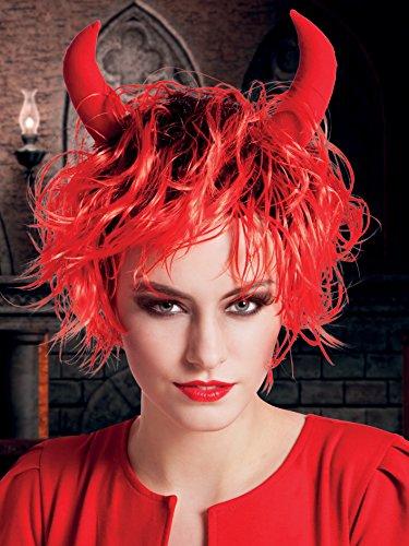 Boland- Parrucca Diavoletta Curly Devil con Corna per Adulti, Rosso, Taglia Unica, 86084