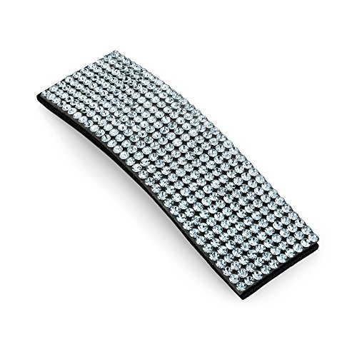 Hair Snap Clip Crystal Rectangle Shape Glitter Bling Sleepies Hair Accessories (Silver)