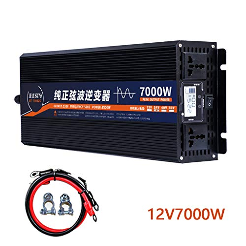Reine Sinus Wechselrichter DC12V 24V 48V 60V Zu AC 240V Power Converter 6000W / 7000W High Power Home Wechselrichter, LCD-Spannungsanzeige Und 2 AC-Steckdosen