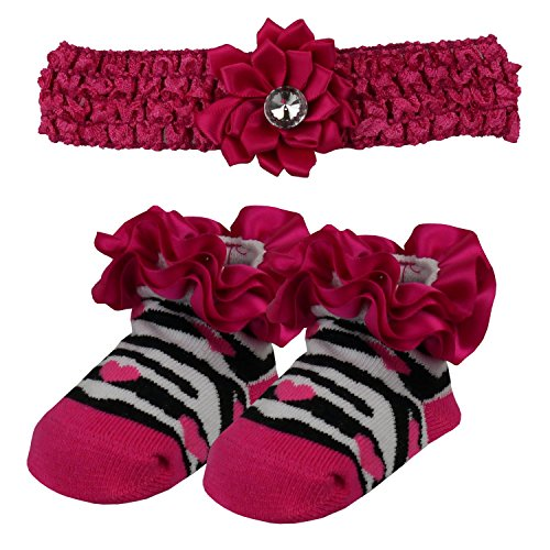 Diamante Bandeau & Zebra Sock Gift Set - 4 Couleurs/Taille 0-6 mois - Purple