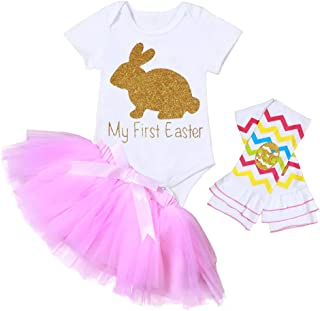 c366369041e Baby Girl My 1st Easter Outfit Infant Bunny Print Romper Rabbit Bodysuit  Bow Tutu Dress with