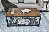 Meerveil Couchtisch Retro, Retrostil Beistelltisch Kaffeetisch Industriestil, Holzformgestaltung und Metallrahmen für Wohnzimmer, Flur (Couchtisch) - 7