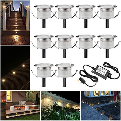 LED-Terrassenleuchten wasserdicht IP67 Ø31 mm – Beleuchtung für Terrasse / Weg / Wand / Garten / Dekoration, warmweiß, 10er-Pack