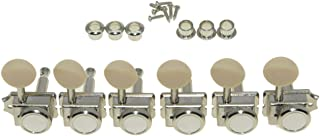 KAISH 6 Inline Guitar Vintage Style Locking Tuners Guitar Tuning Keys Guitar Lock Machine Heads for Strat Tele Nickel with Ivory Button