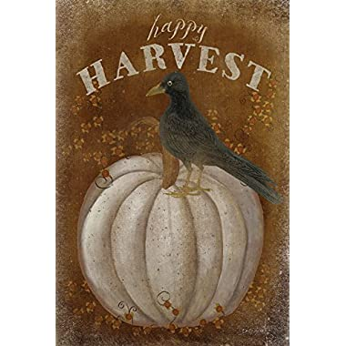 Toland Home Garden Happy Harvest 28 x 40 Inch Decorative Rustic Pumpkin Crow House Flag