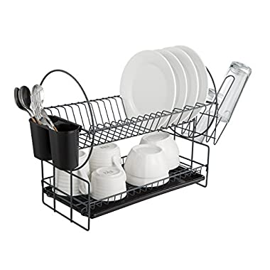 2 Tier Dish Drying Rack Kitchen Organizer with Drain Board, Gray Painted Steel, Naturous