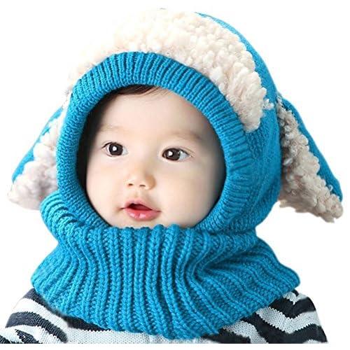 Yuson Girl Inverno del Bambino delle Ragazze dei Capretti dei Ragazzi di Lana Caldo Coif Hood Sciarpa ricopre i Cappelli (Blu)