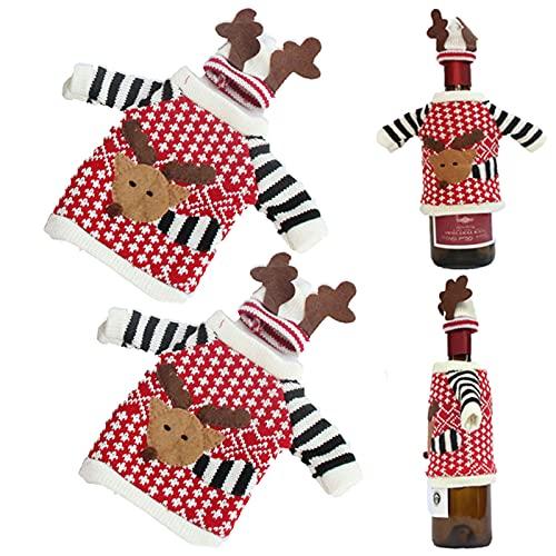 Bonito Suéter de Navidad para Botella de Vino Suéter de Botella de Vino para Decoraciones de Navidad Navidad Botella de Vino Cubiertas Bolsas Bolsas para Botella de Vino de Navidad Alces 2 Piezas