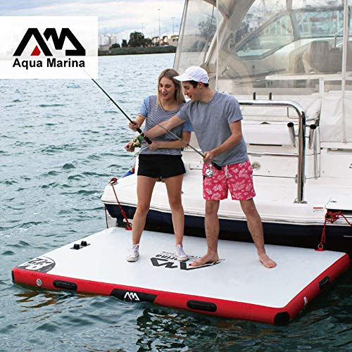 Foammaker Aqua Marina Inflatable Dock Platform, Inflatable Swim Platform, Inflatable Platform Dock, White and Red Side