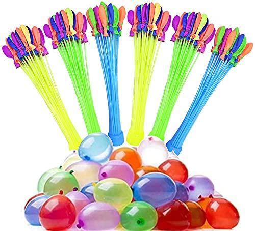 888 Stück Wasserbomben Balloons, Schnellfüller Wasserballons, 24 Bündel mit je 37 Wasserbomben, selbst verschließend ohne Knoten, Bunt Gemischt,viel Spaß