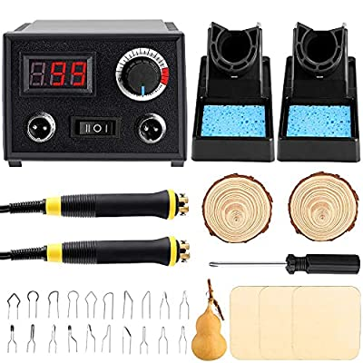 Professional Pyrography Tool Kit 60W Upgraded Wood Burning Kits with 20pcs Pyrography Wire Tips Digital Adjustable Pyrography Machine for Wood and Gourd(Duble Pen)