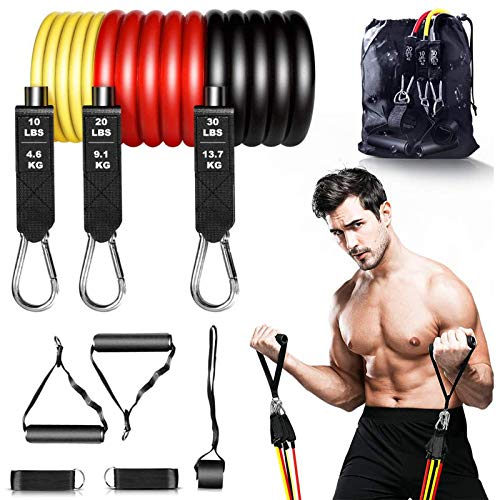 Resistance Bands,9pcs Exercise Bands Sets, Gym Band Kits,Fitness Bands with Door Anchor, Handles, Carry Bag, Legs Ankle Straps,Training Physical Therapy Home Workouts (60LBS)