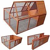 Melko Kleintierstall Klappbarer Hasenstall Freilaufgehege ca. 160 x 119 x 60 cm, aus Holz, braun