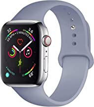 QIENGO Sport Band Compatible with Apple Watch Band 38mm 40mm 42mm 44mm, Soft Silicone Replacement Sport Strap Compatible with iWatch Apple Watch Series 4/3/2/1