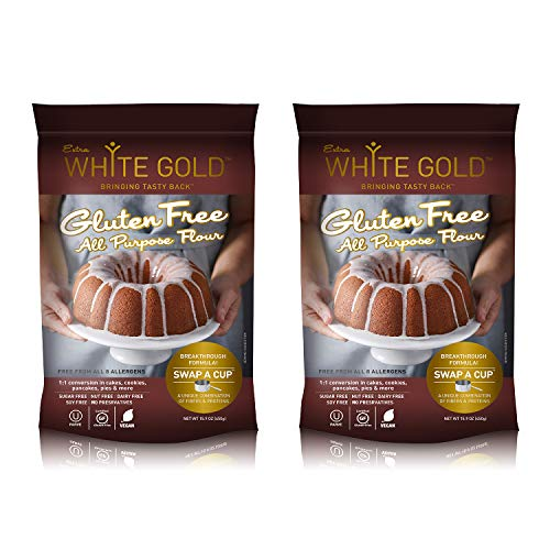 Extra White Gold Gluten Free All Purpose Flour – Gluten Free Flour Blend For Baking & Cooking – [Kosher] [Gluten Free] [Vegan] [Soy Free] [Nut Free] [Dairy Free] – 15.9 Ounces (2 pack)