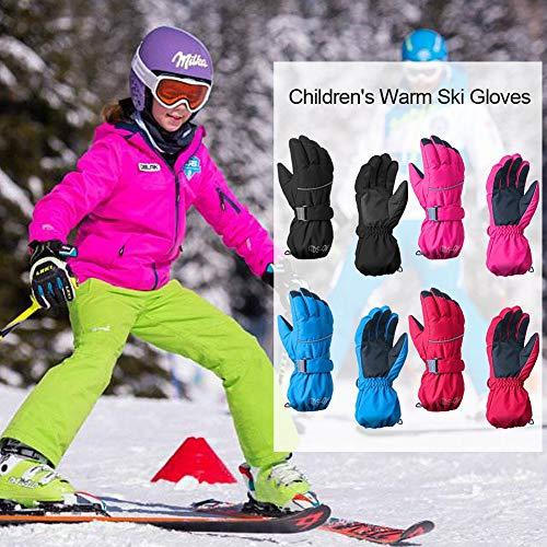 Kinder Skihandschuhe wasserdicht,Awhao winddicht rutschfest Winter warm fünf Finger einfarbig Handschuhe für Outdoor-Reiten Ski, Geschenk für Kinder