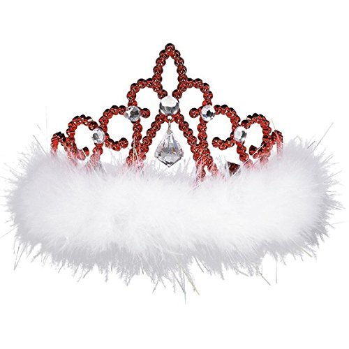 amscan 393226 Red Plastic Tiara Gemstone with White Marabou