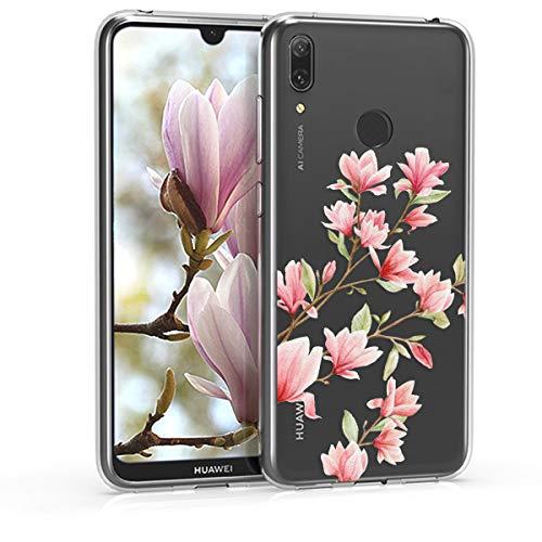 kwmobile Hülle kompatibel mit Huawei Y7 (2019) / Y7 Prime (2019) - Hülle Handy - Handyhülle - Magnolien Rosa Weiß Transparent