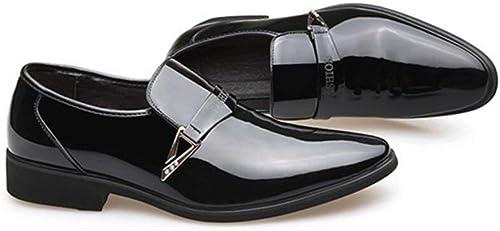Hhor Chaussures de Mode pour Hommes, Lacets, Chaussures à Bout Pointu, Robes en Cuir Plates à Bout Pointu et Brillant, Mariage Décontracté Party, Noir, 42 (Couleuré   comme montré, Taille   Taille Unique)