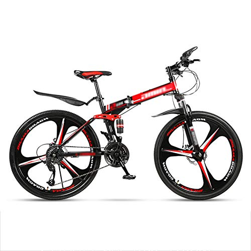 MFZJ1 24' Folding Mountain Bikes,Mountain Bike 27 Speed,Front and Rear Double Suspension System,Folding Mountain Bikes for Adults and Students,Red