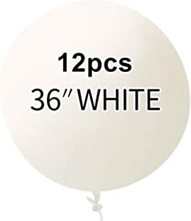 CEDAR BRIGHT 36 Inch Latex Round White Balloons(Premium Helium Quality),Giant Balloons for Photo Shoot/Birthday/WeddingPar...