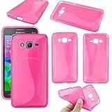 ebestStar - Funda Compatible con Samsung Grand Prime Galaxy G530F, Value Edition G531F Carcasa Gel Silicona Gel TPU Motivo S-línea, S-Line Case Cover, Rosa [Aparato: 144.8 x 72.1 x 8.6mm, 5.0'']