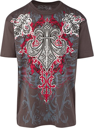 Sakkas 855T Santi Glory Cinque Metallizzato Goffrato Mens T-Shirt Moda - Charcoal/Piccolo