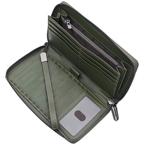 Portmonee Damen mit RFID Schutz Geldbeutel, Portemonnaie, Geldbörse, Brieftasche, Damengeldbeutel, Damengeldbörse lang groß viele fächer Leder Reissverschluss