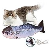 Eléctrica Juguete Pez para Gato, Juguete Hierba Gatera, Catnip Fish Toys, Simulación de Peces de Peluche Juguetes,Juguete Interactivo,Peluche de juguete eléctrico de simulación Fish Fish con carga USB