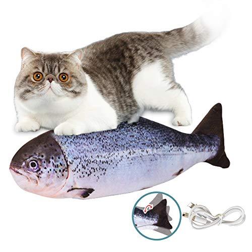 SEGMINISMART Fisch Katzenspielzeug, Elektrisch Spielzeug Fisch, Spielzeug mit Katzenminze, Katze Interaktive Spielzeug, Simulation Plush Fisch, Kauspielzeug Katze mit USB Ladegerät und Katzenminze