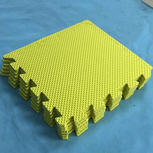 Puzzel Oefening Speelmat Schuim in elkaar grijpende tegels Tegels Gymmat Trainingsmatten Beschermende vloeren Anti-vermoeidheid met EVA-schuim (10 tablets) -,Yellow,60 x 60 x 0.8cm