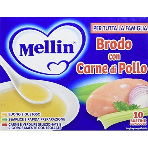 Mellin Brodo di Pollo Liofilizzato, 10 Pezzi da 50 gr