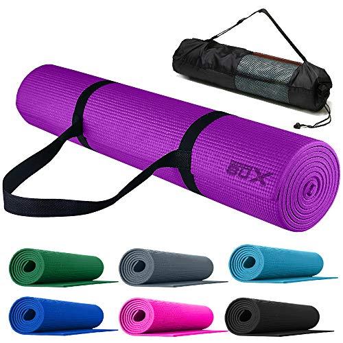 Xn8 Tappetino Yoga 8mm di Spessore-Antiscivolo Tappetino per Palestra-Pilates-Aerobico-Fitness-Esercizi a Casa con Cinturino