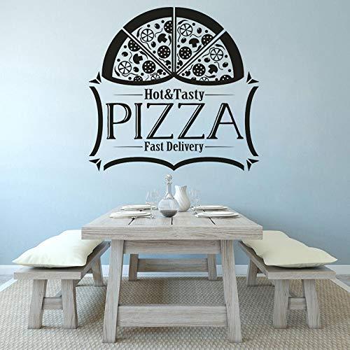 mlpnko Köstliche Pizza Pizza Shop Fenster Vinyl Wandtattoo Logo Aufkleber Logo Wandkunst,CJX16047-86x83cm