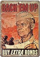 戦時国債バックアップエムアッププロパガンダブリキサインヴィンテージ面白い生き物鉄の絵金属板ノベルティ
