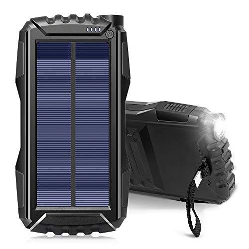Chargeur Solaire 25000Mah, Solar Power Bank, Portable Chargeur Batterie Grande capacité de Sauvegarde Batterie Compatible Smartphone, Tablette et Plus,Noir