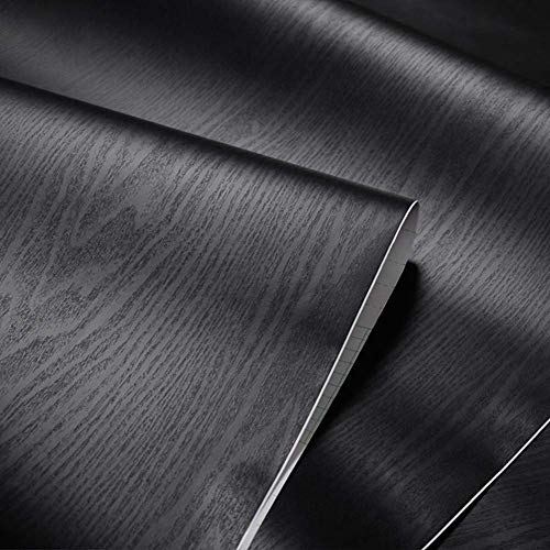 Svart trä korn papper självhäftande svart vinyl skal stick film bänkskiva täcker möbler skåp garderob hylla liner tapet klistermärke vattentät lätt att ta bort, 40 x 2,5 m